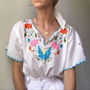 White Embroidered Folk Top
